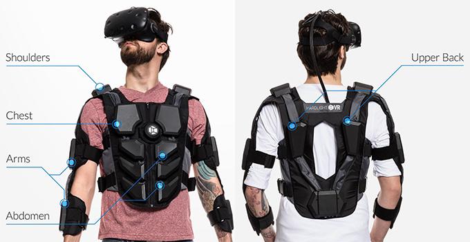 Les zones haptiques du Hardlight VR